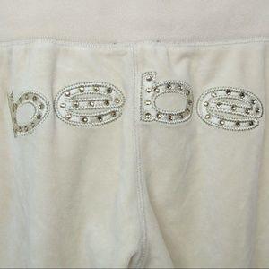 BEBE Womens Sweatpants Lounge Pants Beige Spellout